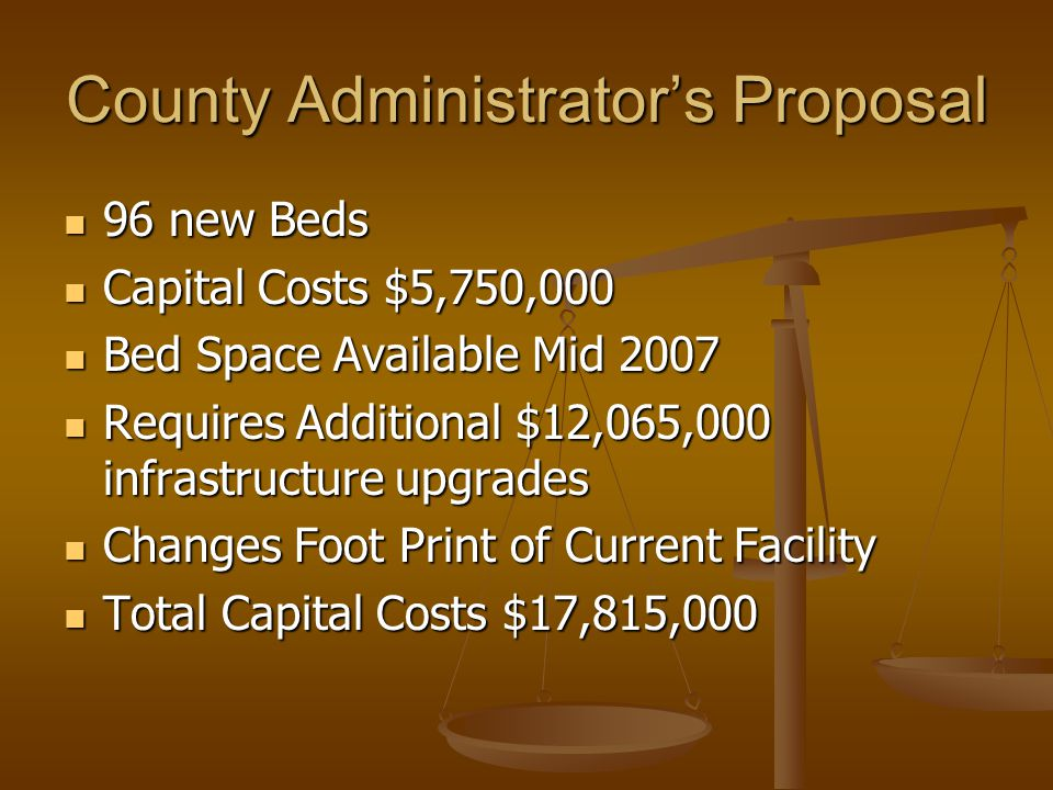 County Administrator's Proposal 96 new Beds 96 new Beds Capital Costs $5,750,000 Capital Costs $5,750,000 Bed Space Available Mid 2007 Bed Space Available Mid 2007 Requires Additional $12,065,000 infrastructure upgrades Requires Additional $12,065,000 infrastructure upgrades Changes Foot Print of Current Facility Changes Foot Print of Current Facility Total Capital Costs $17,815,000 Total Capital Costs $17,815,000