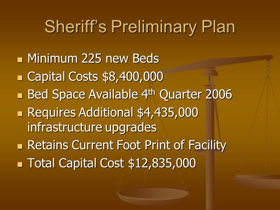 Sheriff's Preliminary Plan Minimum 225 new Beds Minimum 225 new Beds Capital Costs $8,400,000 Capital Costs $8,400,000 Bed Space Available 4 th Quarter 2006 Bed Space Available 4 th Quarter 2006 Requires Additional $4,435,000 infrastructure upgrades Requires Additional $4,435,000 infrastructure upgrades Retains Current Foot Print of Facility Retains Current Foot Print of Facility Total Capital Cost $12,835,000 Total Capital Cost $12,835,000