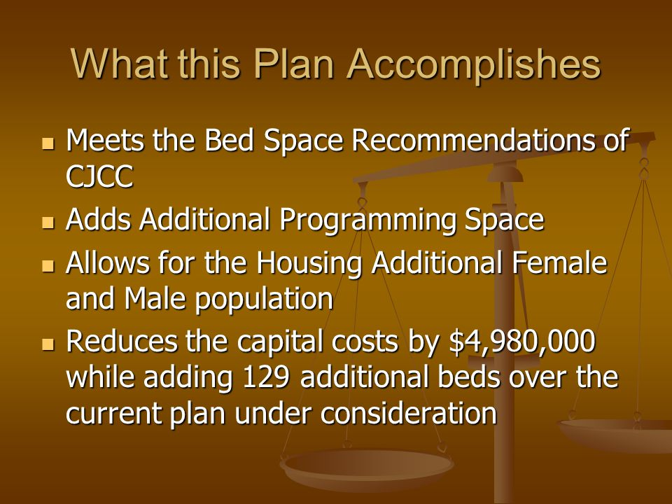 What this Plan Accomplishes Meets the Bed Space Recommendations of CJCC Meets the Bed Space Recommendations of CJCC Adds Additional Programming Space Adds Additional Programming Space Allows for the Housing Additional Female and Male population Allows for the Housing Additional Female and Male population Reduces the capital costs by $4,980,000 while adding 129 additional beds over the current plan under consideration Reduces the capital costs by $4,980,000 while adding 129 additional beds over the current plan under consideration