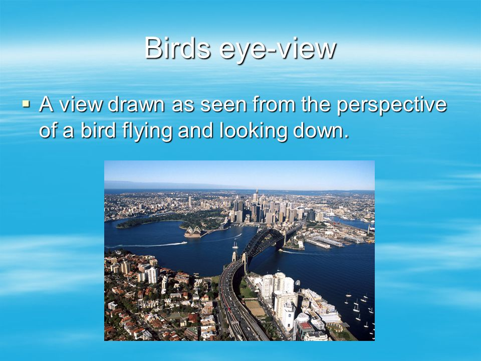Birds eye-view  A view drawn as seen from the perspective of a bird flying and looking down.