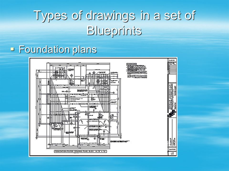 Types of drawings in a set of Blueprints  Foundation plans