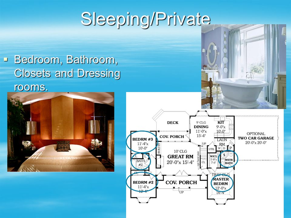 Sleeping/Private  Bedroom, Bathroom, Closets and Dressing rooms.