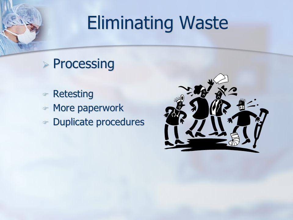 Eliminating Waste  Processing  Retesting  More paperwork  Duplicate procedures