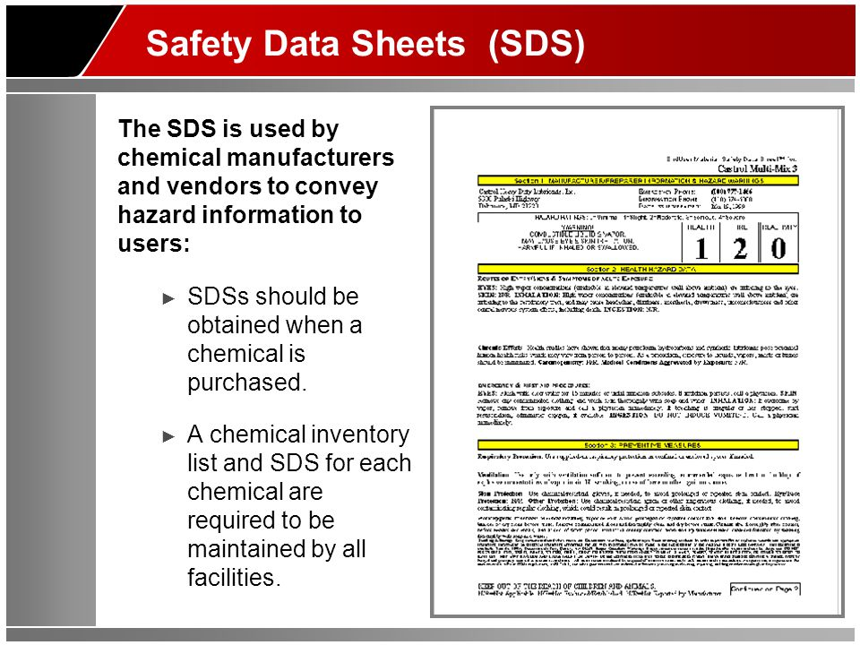 Reading the SDS Information on the SDS is organized in 16 sections as follows: ► Section 1: Identification includes product identifier; manufacturer or distributor name, address, phone number; emergency phone number; recommended use; restrictions on use.
