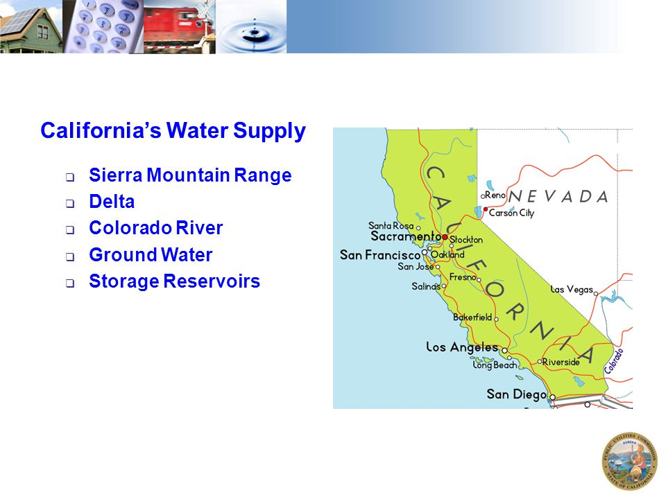 California's Water Supply  Sierra Mountain Range  Delta  Colorado River  Ground Water  Storage Reservoirs