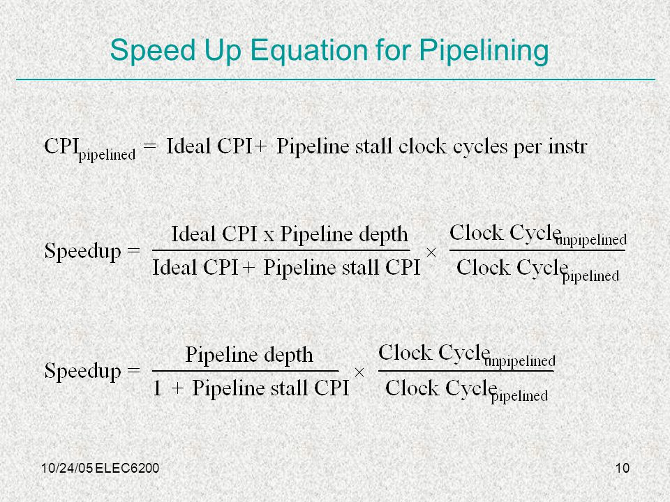 10/24/05 ELEC620010 Speed Up Equation for Pipelining