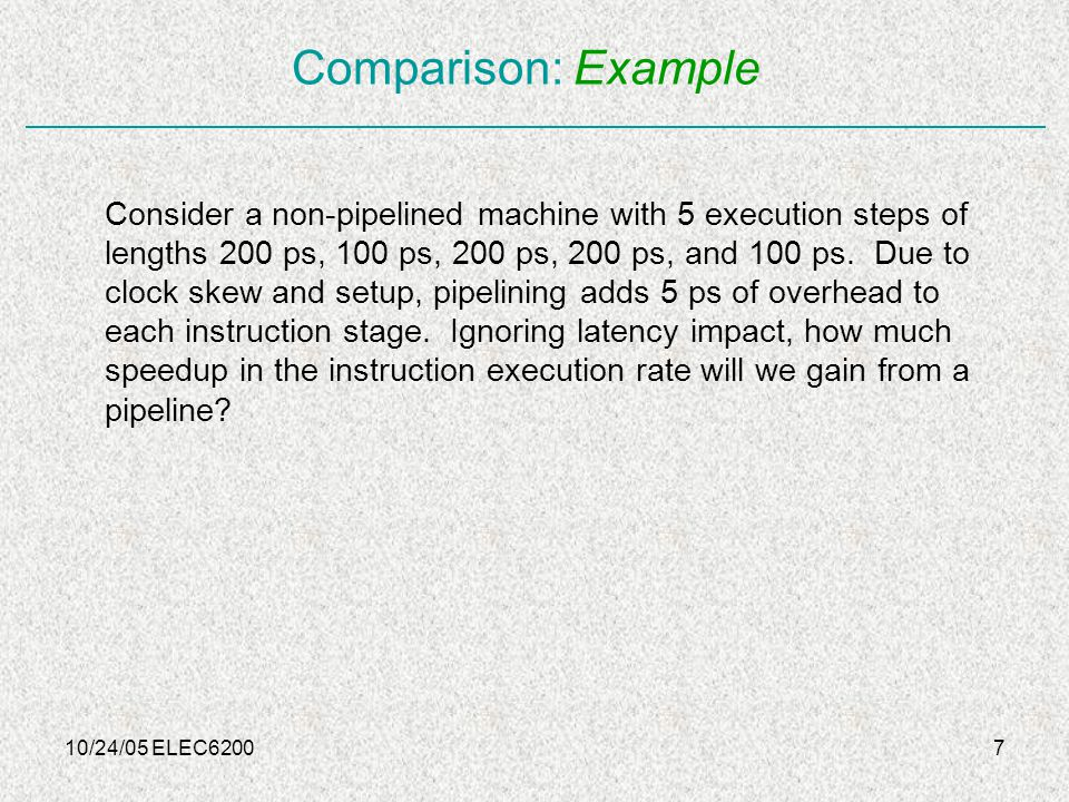 10/24/05 ELEC620028 Dynamic scheduling: Speculation Speculative execution: Dynamic scheduling can be combined with branch prediction, so after a mispredicted branch, commit unit be able to discard all the results in the execution unit Dynamic scheduling can also be combined with Superscalar execution, so each unit may be committing 4 to 6 instructions per cycle