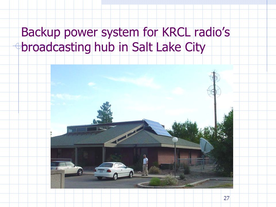 27 Backup power system for KRCL radio's broadcasting hub in Salt Lake City