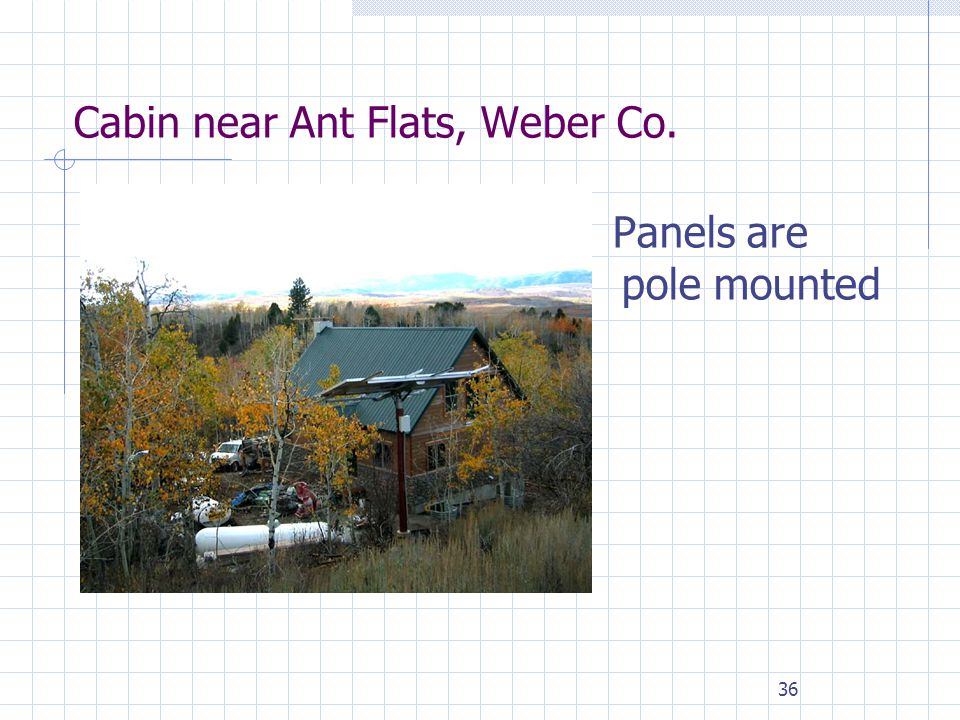 36 Cabin near Ant Flats, Weber Co. Panels are pole mounted