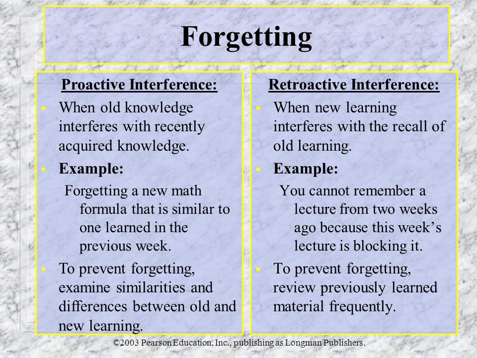©2003 Pearson Education, Inc., publishing as Longman Publishers. Forgetting Retroactive Interference:  When new learning interferes with the recall o