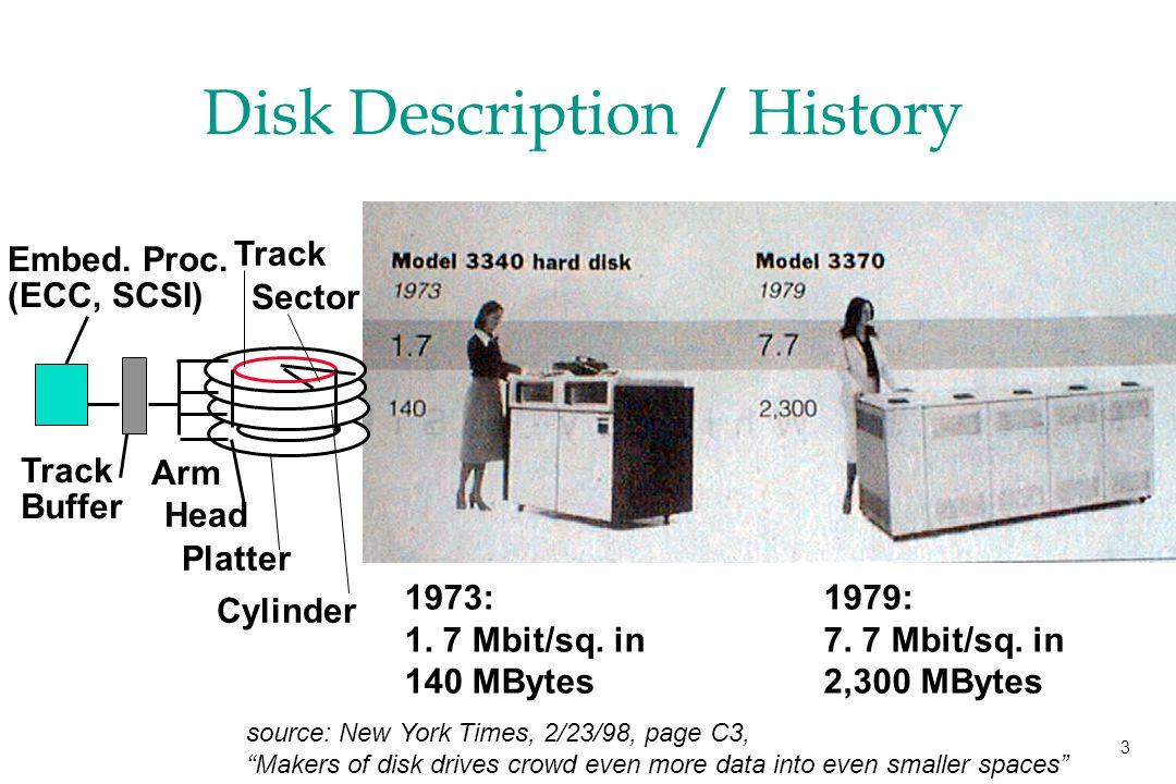 3 Disk Description / History 1973: 1. 7 Mbit/sq. in 140 MBytes 1979: 7.