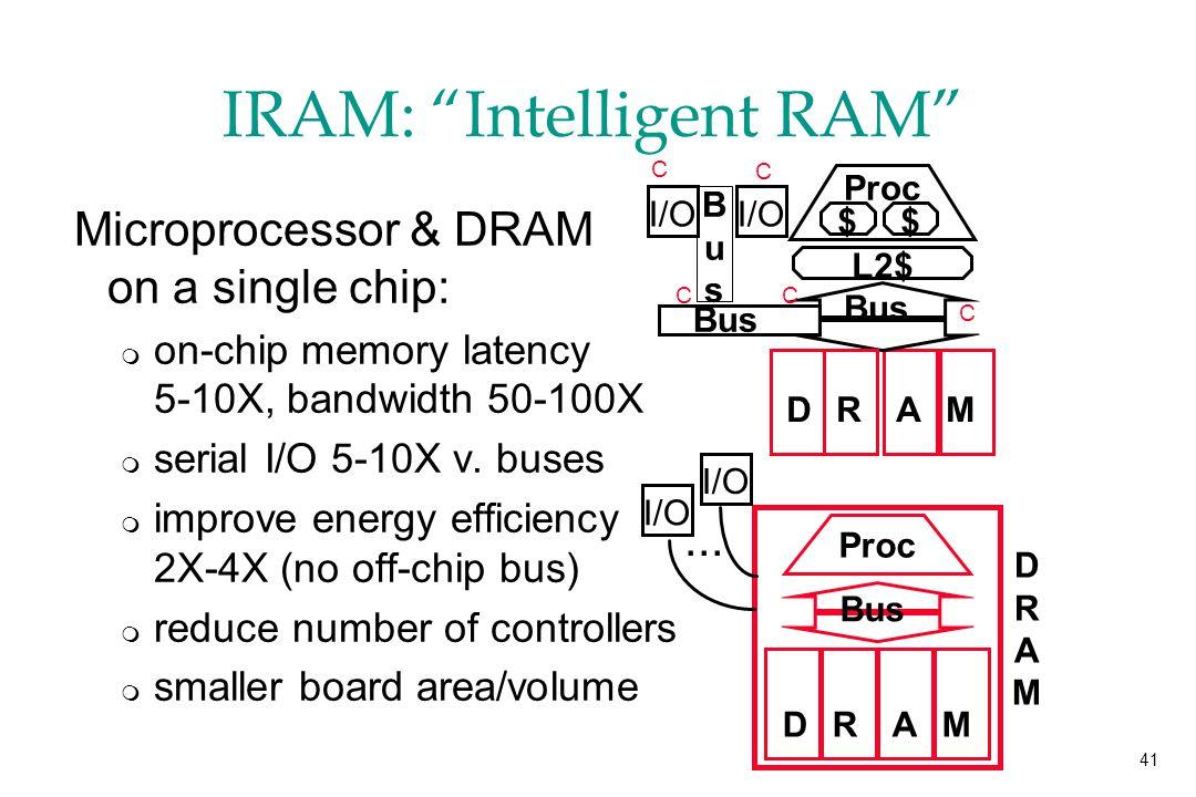 41 IRAM: Intelligent RAM Microprocessor & DRAM on a single chip: m on-chip memory latency 5-10X, bandwidth 50-100X m serial I/O 5-10X v.