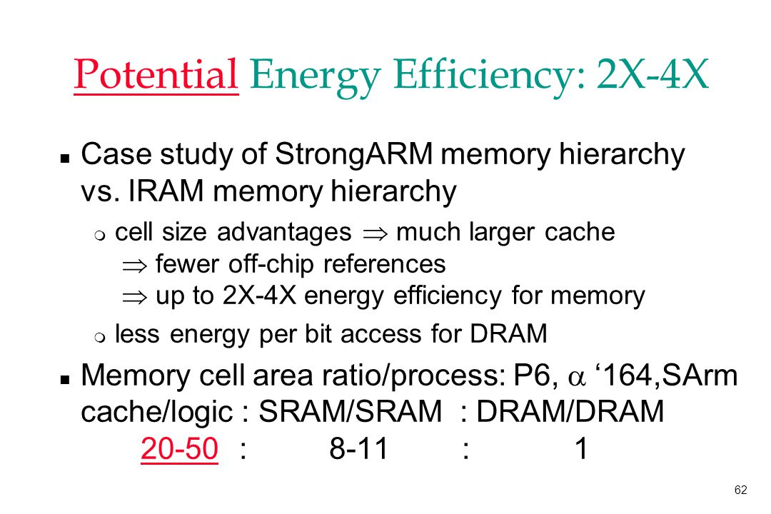 62 Potential Energy Efficiency: 2X-4X n Case study of StrongARM memory hierarchy vs.
