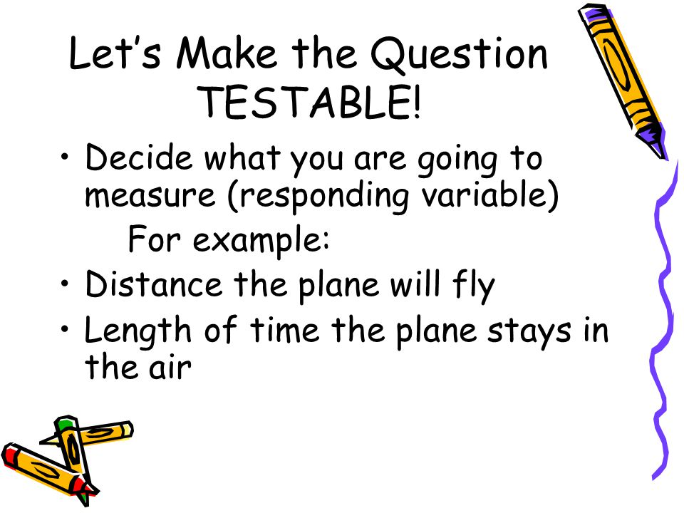 Let's Make the Question TESTABLE.