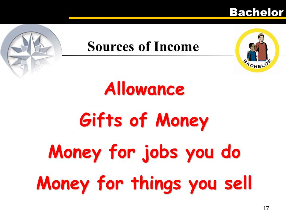 Bachelor 17 Sources of Income Allowance Gifts of Money Money for jobs you do Money for things you sell