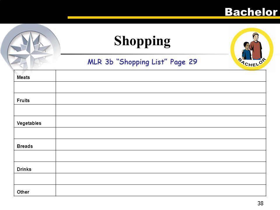 Bachelor 38 Shopping MLR 3b Shopping List Page 29 Meats Fruits Vegetables Breads Drinks Other