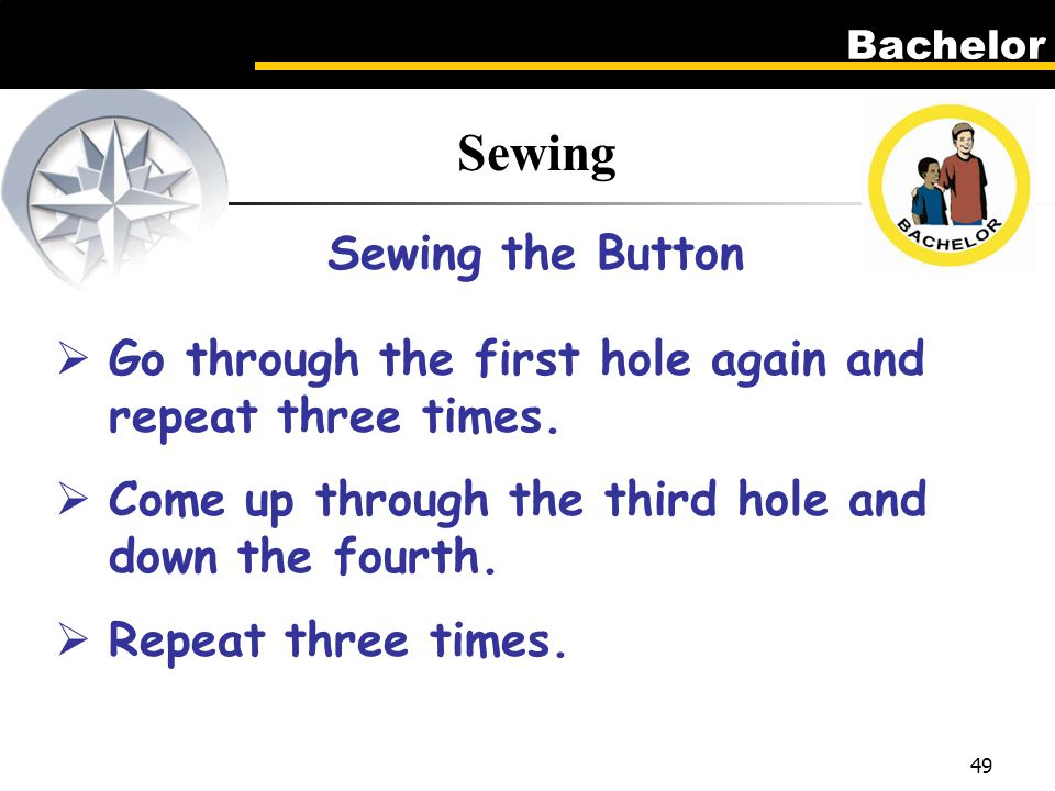 Bachelor 49 Sewing Sewing the Button  Go through the first hole again and repeat three times.