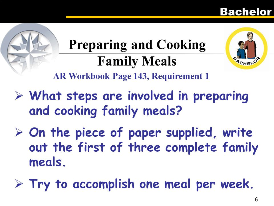 Bachelor 6 Preparing and Cooking Family Meals AR Workbook Page 143, Requirement 1  What steps are involved in preparing and cooking family meals.