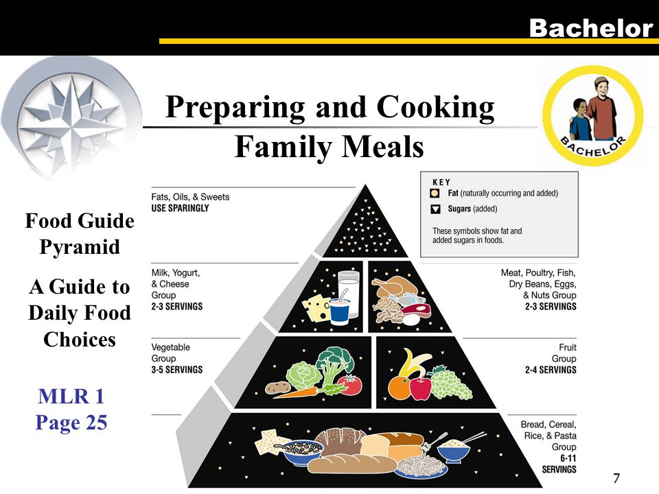 Bachelor 7 Preparing and Cooking Family Meals Food Guide Pyramid A Guide to Daily Food Choices MLR 1 Page 25