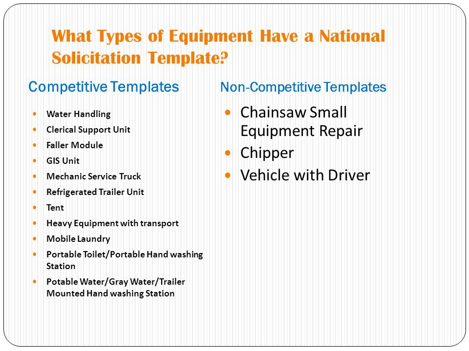 What Types of Equipment Have a National Solicitation Template.
