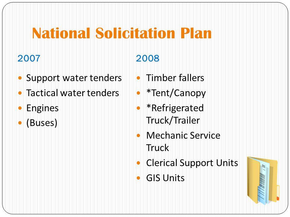 National Solicitation Plan 20072008 Support water tenders Tactical water tenders Engines (Buses) Timber fallers *Tent/Canopy *Refrigerated Truck/Trailer Mechanic Service Truck Clerical Support Units GIS Units