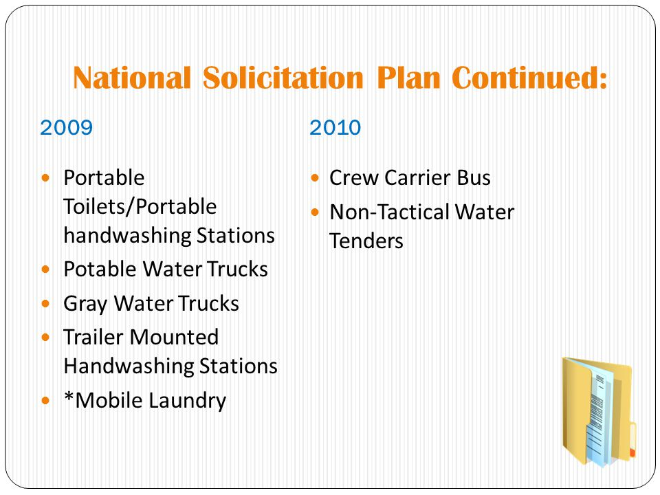 National Solicitation Plan Continued: 20092010 Portable Toilets/Portable handwashing Stations Potable Water Trucks Gray Water Trucks Trailer Mounted H