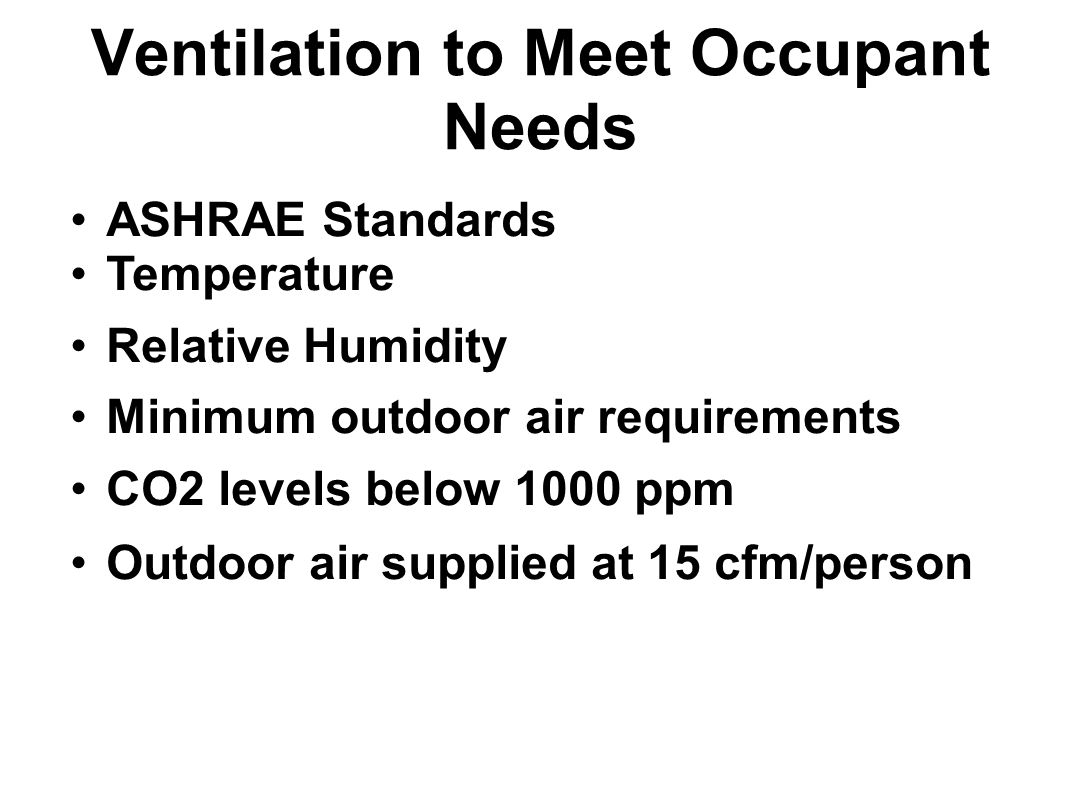 Ventilation to Meet Occupant Needs ASHRAE Standards Temperature Relative Humidity Minimum outdoor air requirements CO2 levels below 1000 ppm Outdoor a