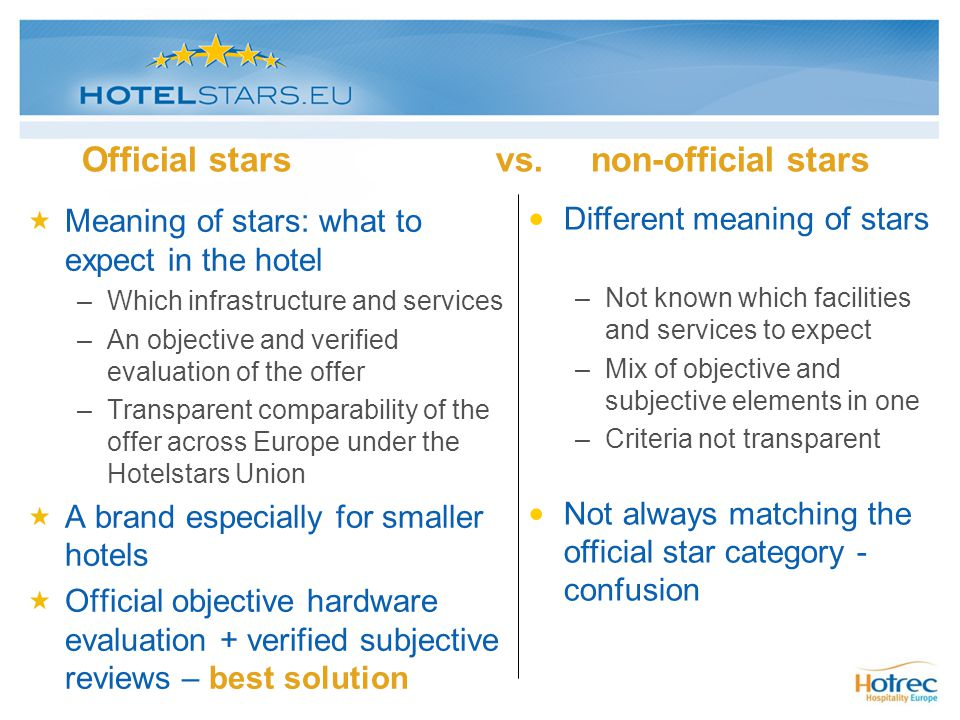 Official stars vs. non-official stars Meaning of stars: what to expect in the hotel –Which infrastructure and services –An objective and verified eval