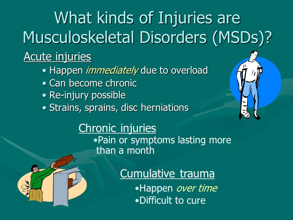 What kinds of Injuries are Musculoskeletal Disorders (MSDs)? Acute injuries Happen immediately due to overloadHappen immediately due to overload Can b