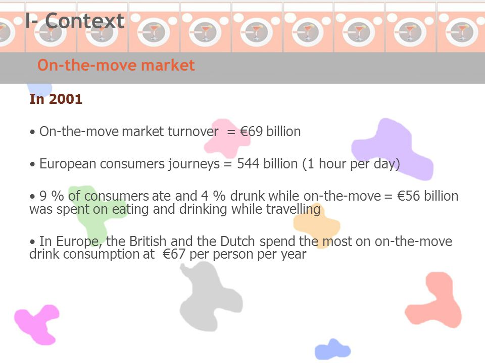 In 2001 On-the-move market turnover = €69 billion European consumers journeys = 544 billion (1 hour per day) 9 % of consumers ate and 4 % drunk while on-the-move = €56 billion was spent on eating and drinking while travelling In Europe, the British and the Dutch spend the most on on-the-move drink consumption at €67 per person per year On-the-move market I- Context