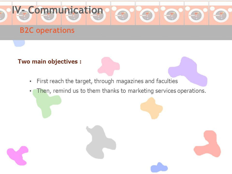 B2C operations IV- Communication Two main objectives : First reach the target, through magazines and faculties Then, remind us to them thanks to marketing services operations.