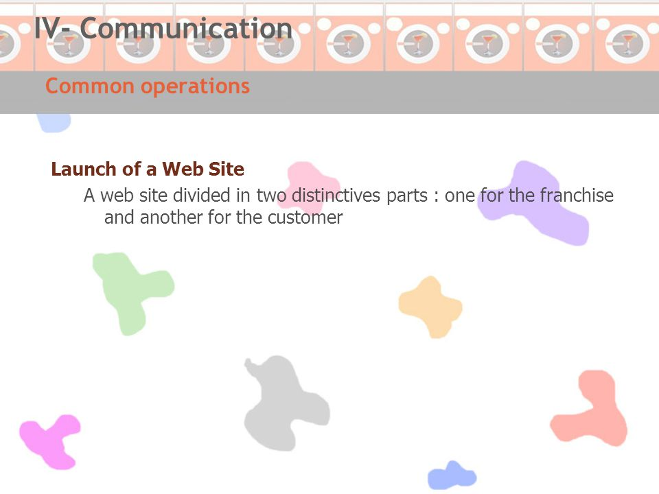 Common operations IV- Communication Launch of a Web Site A web site divided in two distinctives parts : one for the franchise and another for the customer