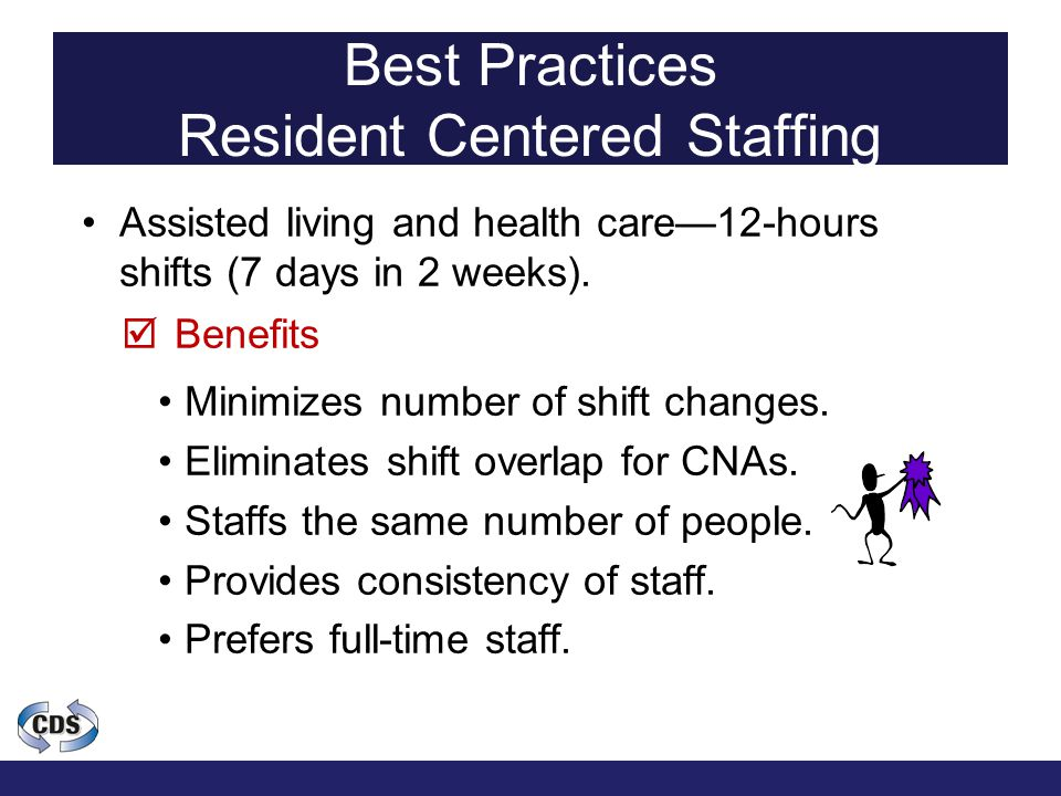 Best Practices Resident Centered Staffing Assisted living and health care—12-hours shifts (7 days in 2 weeks).