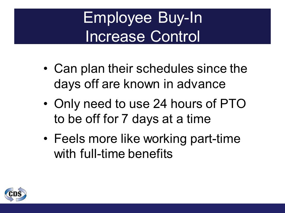 Employee Buy-In Increase Control Can plan their schedules since the days off are known in advance Only need to use 24 hours of PTO to be off for 7 days at a time Feels more like working part-time with full-time benefits