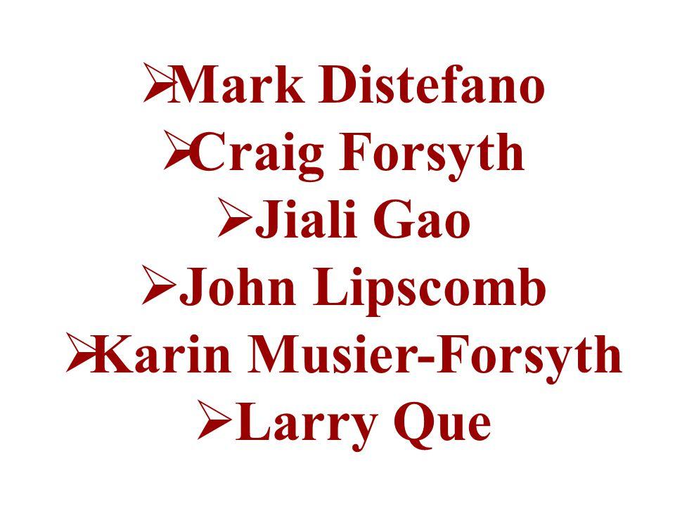  Mark Distefano  Craig Forsyth  Jiali Gao  John Lipscomb  Karin Musier-Forsyth  Larry Que