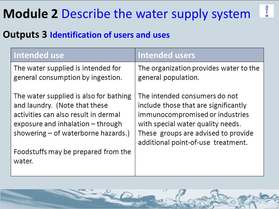 Module 2 Describe the water supply system Outputs 3 Identification of users and uses Intended useIntended users The water supplied is intended for general consumption by ingestion.