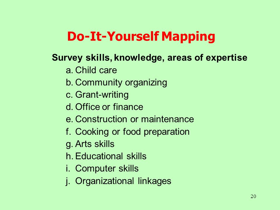 20 Do-It-Yourself Mapping Survey skills, knowledge, areas of expertise a.Child care b.Community organizing c.Grant-writing d.Office or finance e.Const