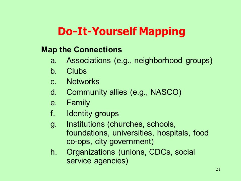 21 Do-It-Yourself Mapping Map the Connections a.Associations (e.g., neighborhood groups) b.Clubs c.Networks d.Community allies (e.g., NASCO) e.Family