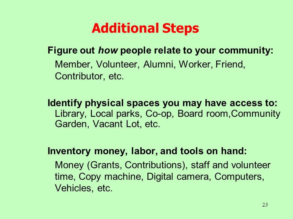 23 Additional Steps Figure out how people relate to your community: Member, Volunteer, Alumni, Worker, Friend, Contributor, etc. Identify physical spa