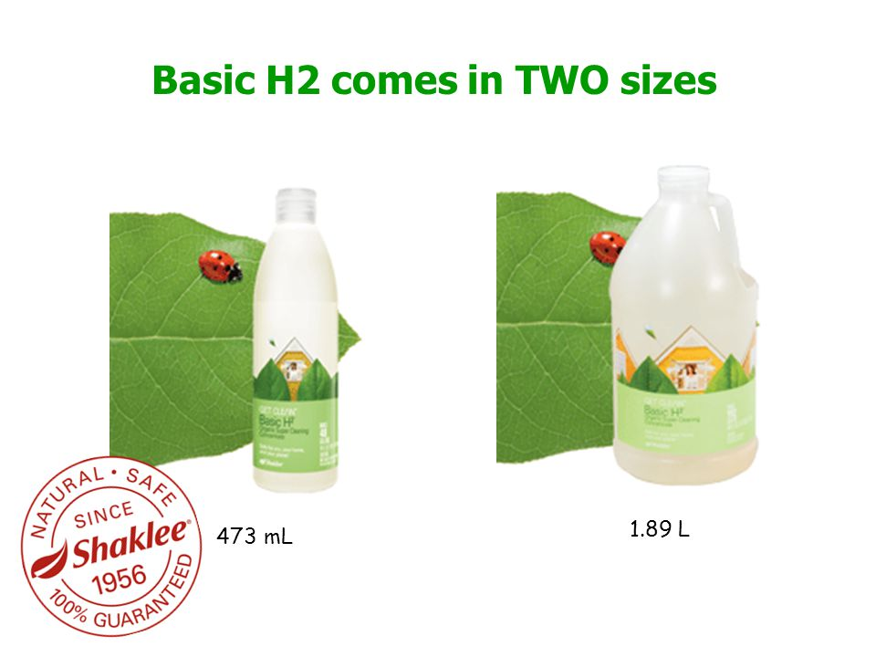 Basic H2 comes in TWO sizes 473 mL 1.89 L