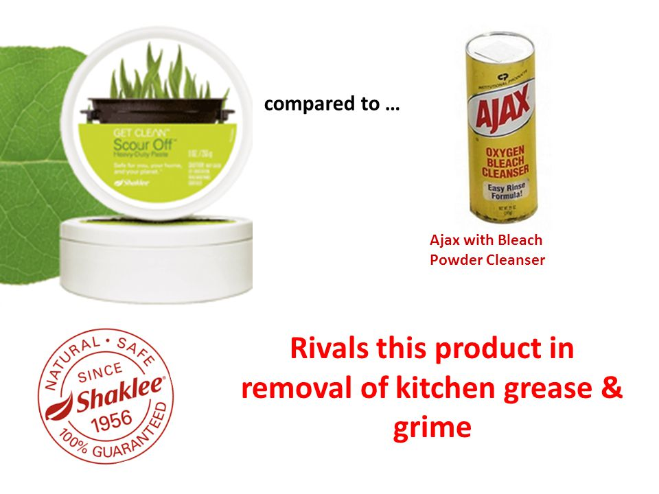 compared to … Ajax with Bleach Powder Cleanser Rivals this product in removal of kitchen grease & grime