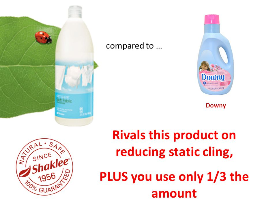 compared to … Downy Rivals this product on reducing static cling, PLUS you use only 1/3 the amount