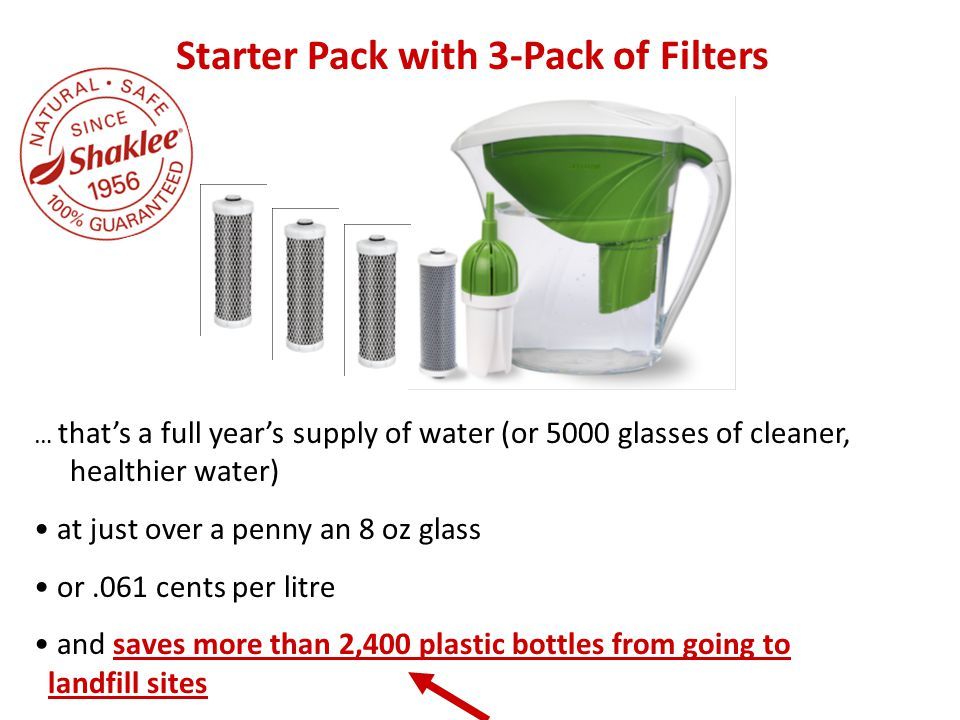 … that's a full year's supply of water (or 5000 glasses of cleaner, healthier water) at just over a penny an 8 oz glass or.061 cents per litre and sav