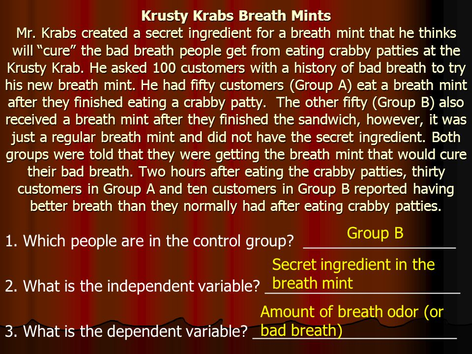 """Krusty Krabs Breath Mints Mr. Krabs created a secret ingredient for a breath mint that he thinks will """"cure"""" the bad breath people get from eating cra"""