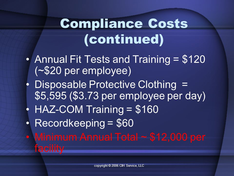 copyright © 2006 CIH Service, LLC Compliance Costs (continued) Annual Fit Tests and Training = $120 (~$20 per employee) Disposable Protective Clothing = $5,595 ($3.73 per employee per day) HAZ-COM Training = $160 Recordkeeping = $60 Minimum Annual Total ~ $12,000 per facility