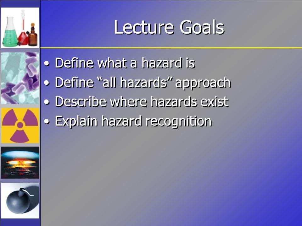 Lecture Goals Define what a hazard is Define all hazards approach Describe where hazards exist Explain hazard recognition Define what a hazard is Define all hazards approach Describe where hazards exist Explain hazard recognition