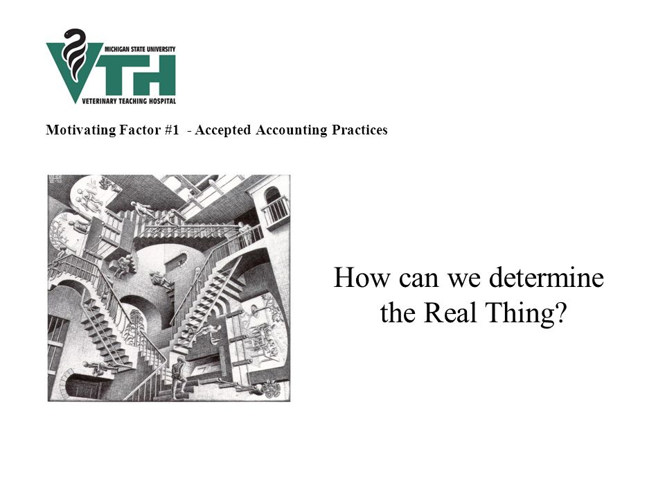 How can we determine the Real Thing Motivating Factor #1 - Accepted Accounting Practices