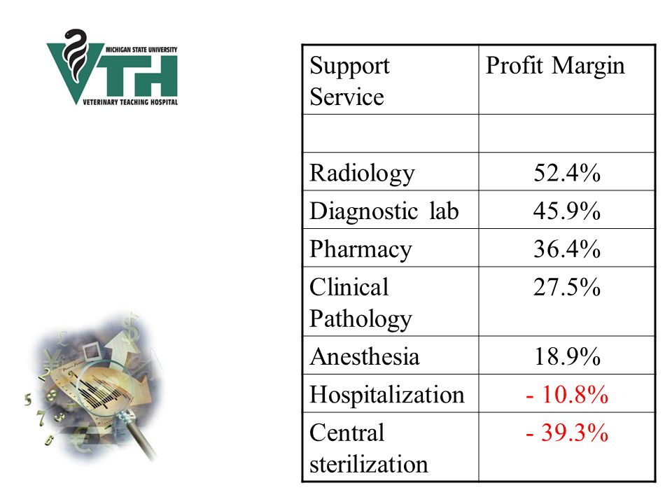 Support Service Profit Margin Radiology52.4% Diagnostic lab45.9% Pharmacy36.4% Clinical Pathology 27.5% Anesthesia18.9% Hospitalization- 10.8% Central sterilization - 39.3%