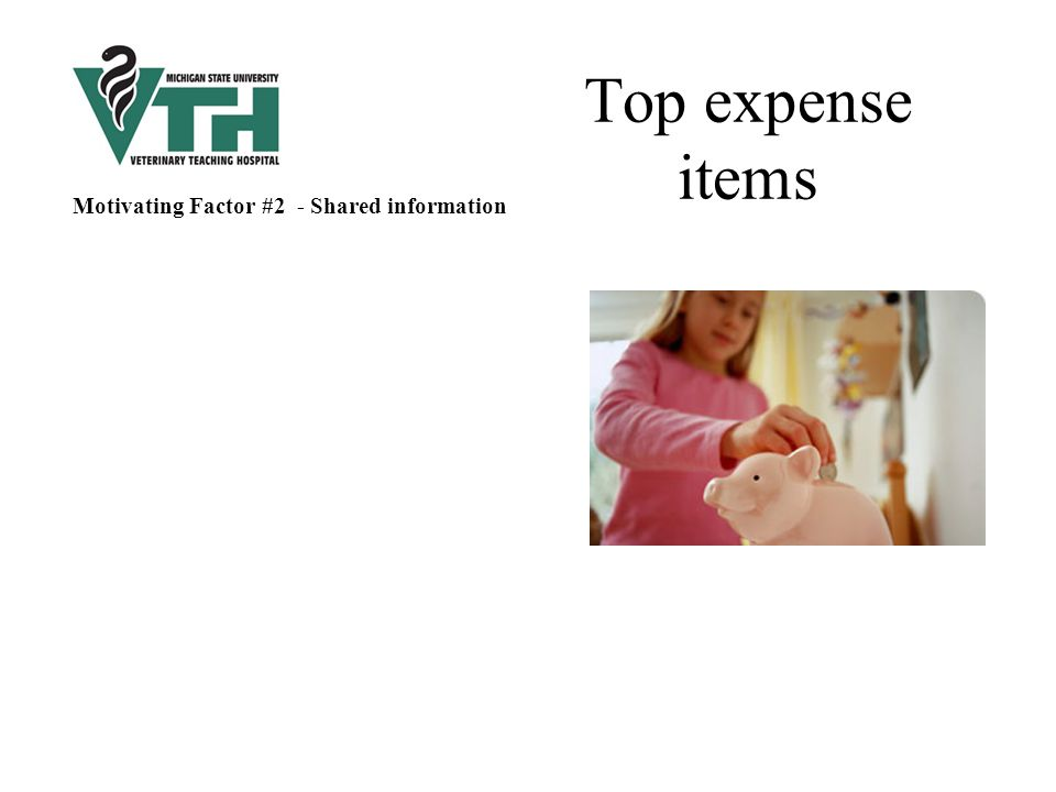Top expense items Motivating Factor #2 - Shared information