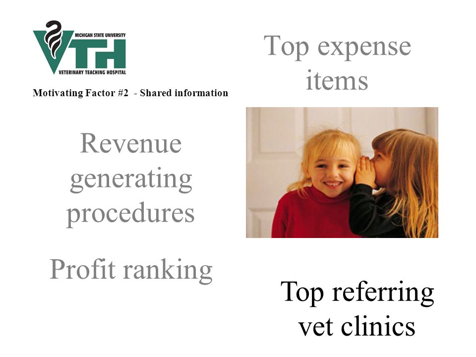 Top expense items Revenue generating procedures Profit ranking Top referring vet clinics Motivating Factor #2 - Shared information